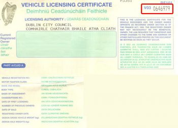 vehicle licensing certificate