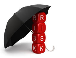 PCP 5 Red dice spelling risk under a black umbrella