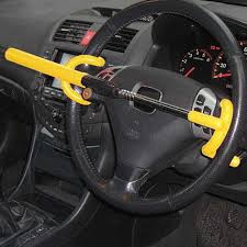 Car theft 5 Steering wheel lock in place