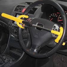Car theft 5 Steering wheel lock in place