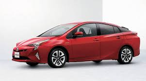 Electric car 3 Red side view of a Toyota Prius