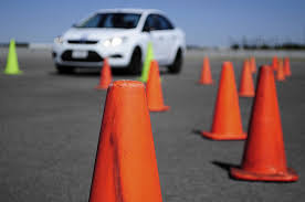 A Young driver 2 car in cones
