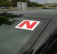 A young driver 3 N plate on windscreen